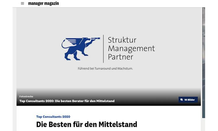 Screenshot manager magazin von der Online-Bilderstrecke der Top-Consultants 2019
